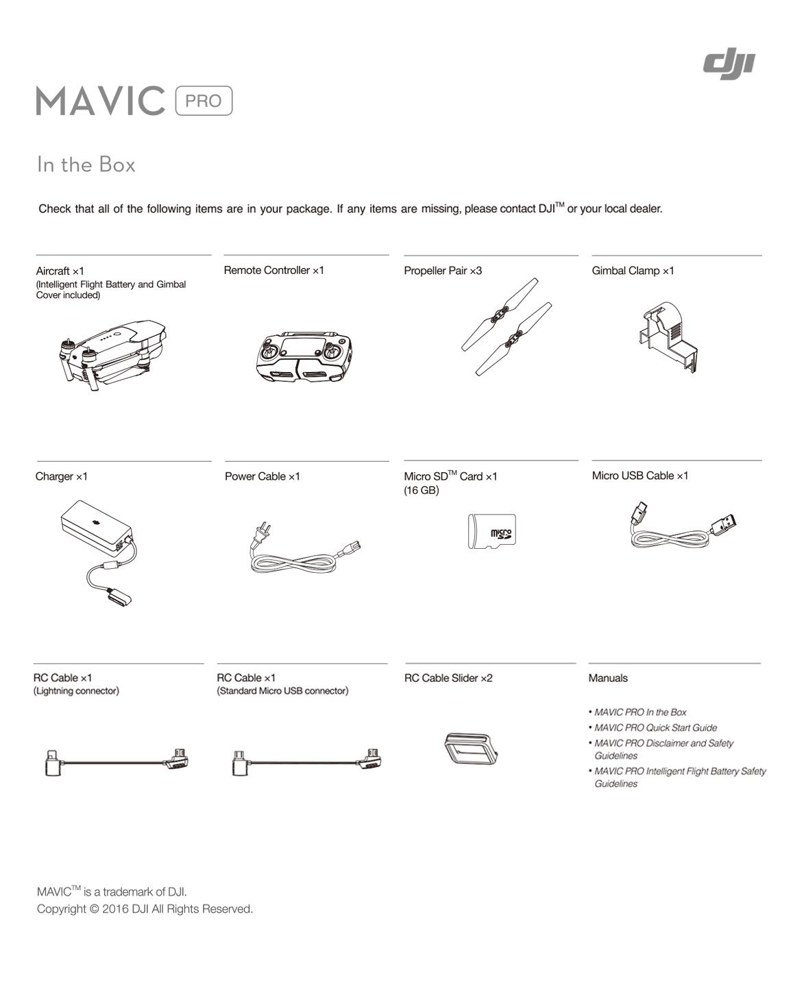Contenido Caja Mavic Pro